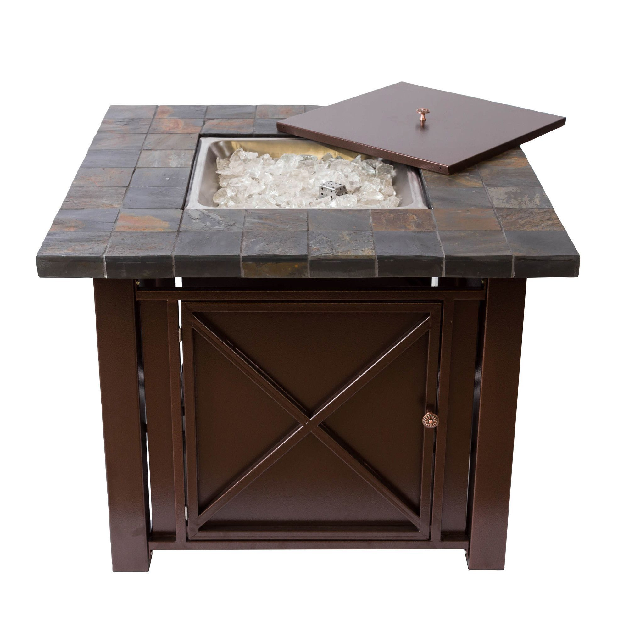 Bombay propane fire pit table with slate countertop for the