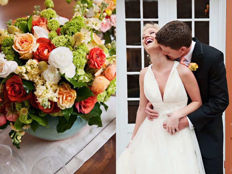 Love the flower arrangement and the fabric of the bride's dress!