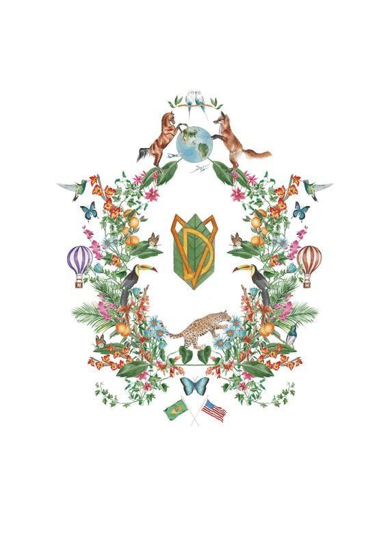 Botanical Watercolour Wedding Crest Logo Wedding Suite Hand