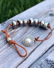 Photo of Hematite Knotted Leather Bracelet –   – #bracelet #hematite #jewelryeditorial #k…