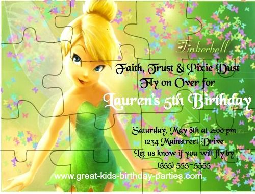 TinkerBell Party Ideas Turn your invitation into a fun puzzle – Tinkerbell Party Invitation