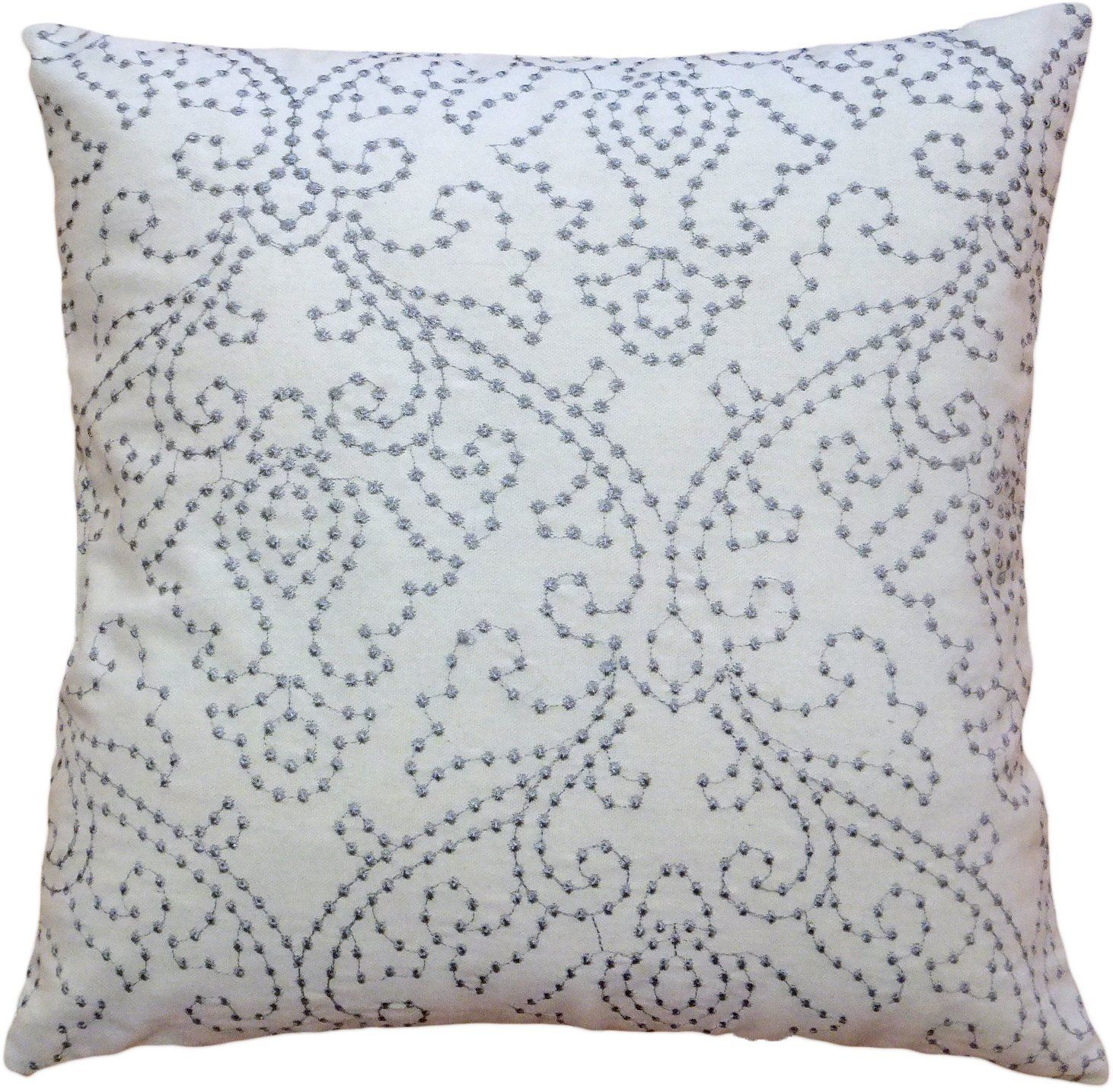 """Amazon.com - Decorative Designer's Embroidery Floral Design with Dots Throw Pillow COVER 18"""" Grey -"""