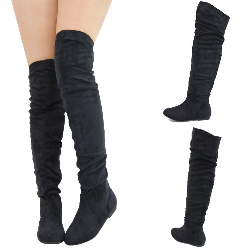 Black Round Toe Stretch Slouchy Over The Knee Thigh High Flat ...