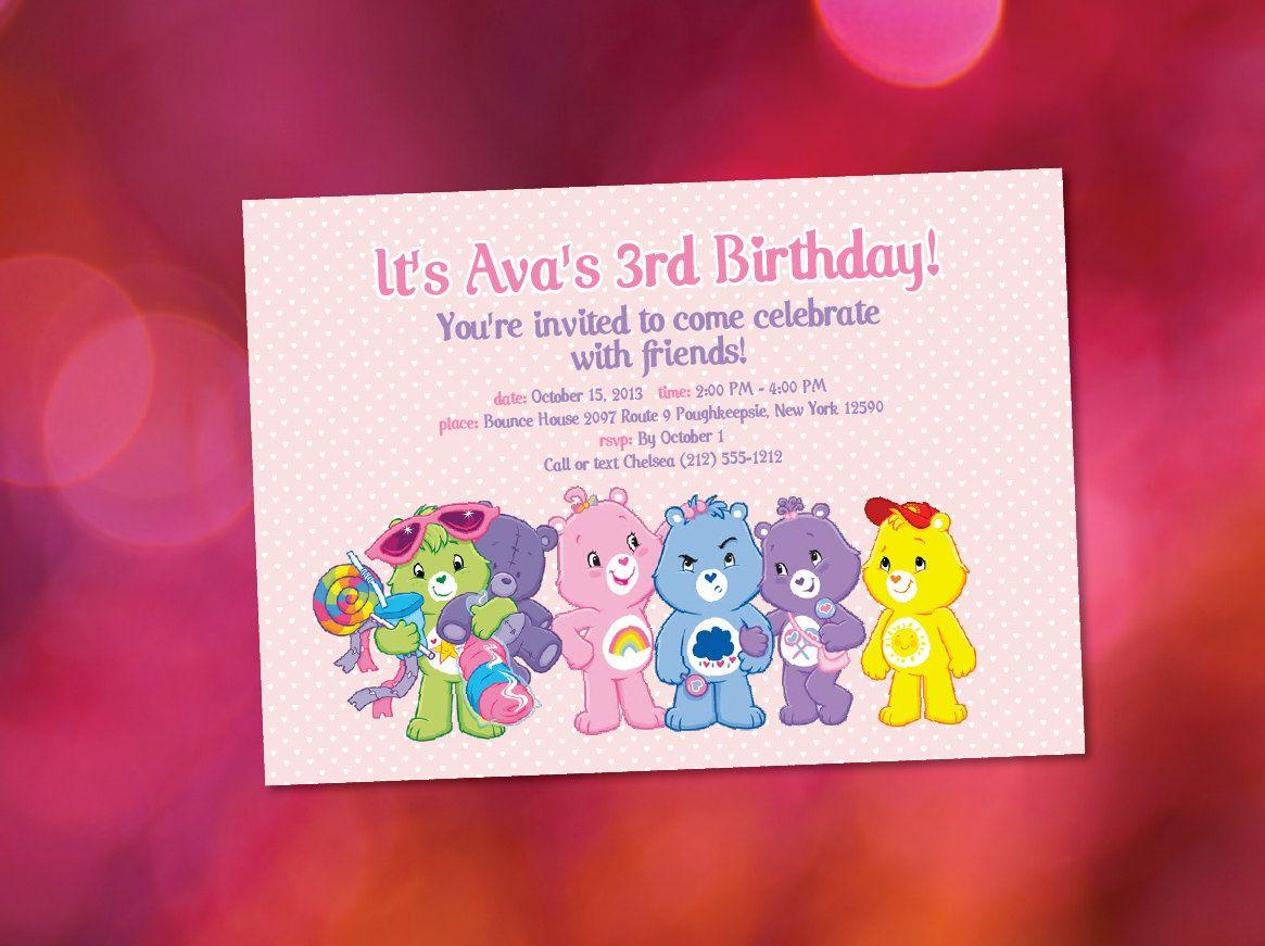 Care Bear Inspired Birthday Bear Customized Printable