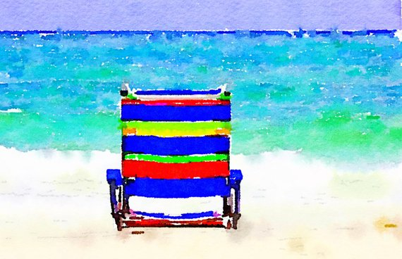 Painting Of Beach Chair Watercolor Of The Gulf Of Mexico In The
