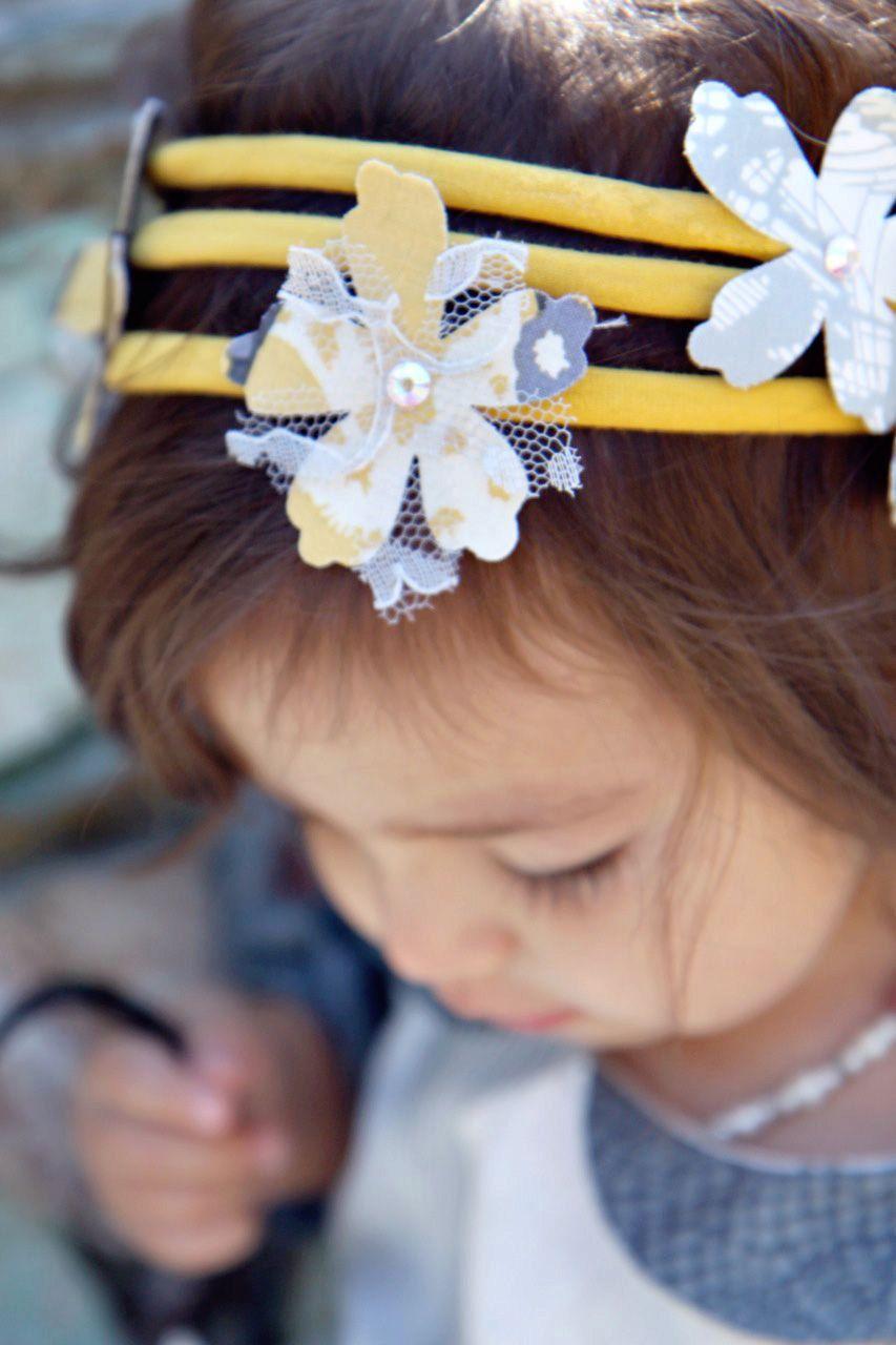 Handmade Vintage Yellow Headband With Shades Of Grey Yellow And