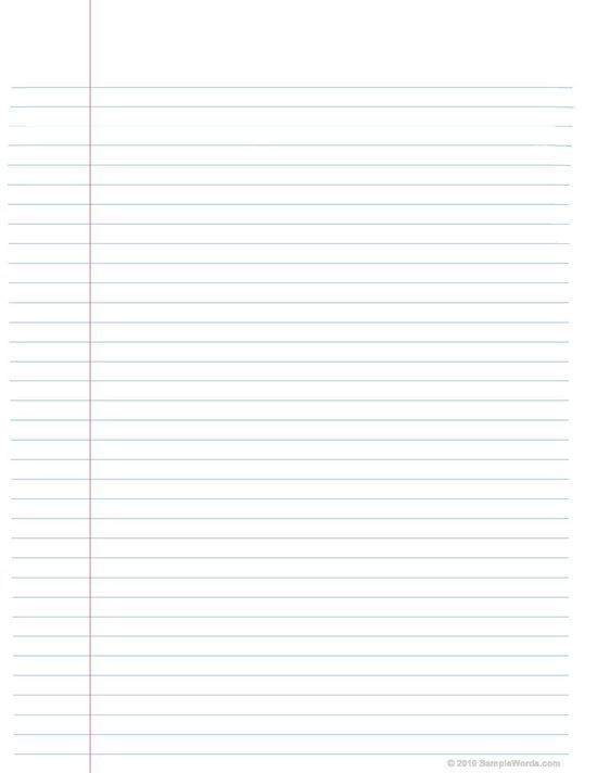 Free Printable Lined Notebook Paper - notebook paper download