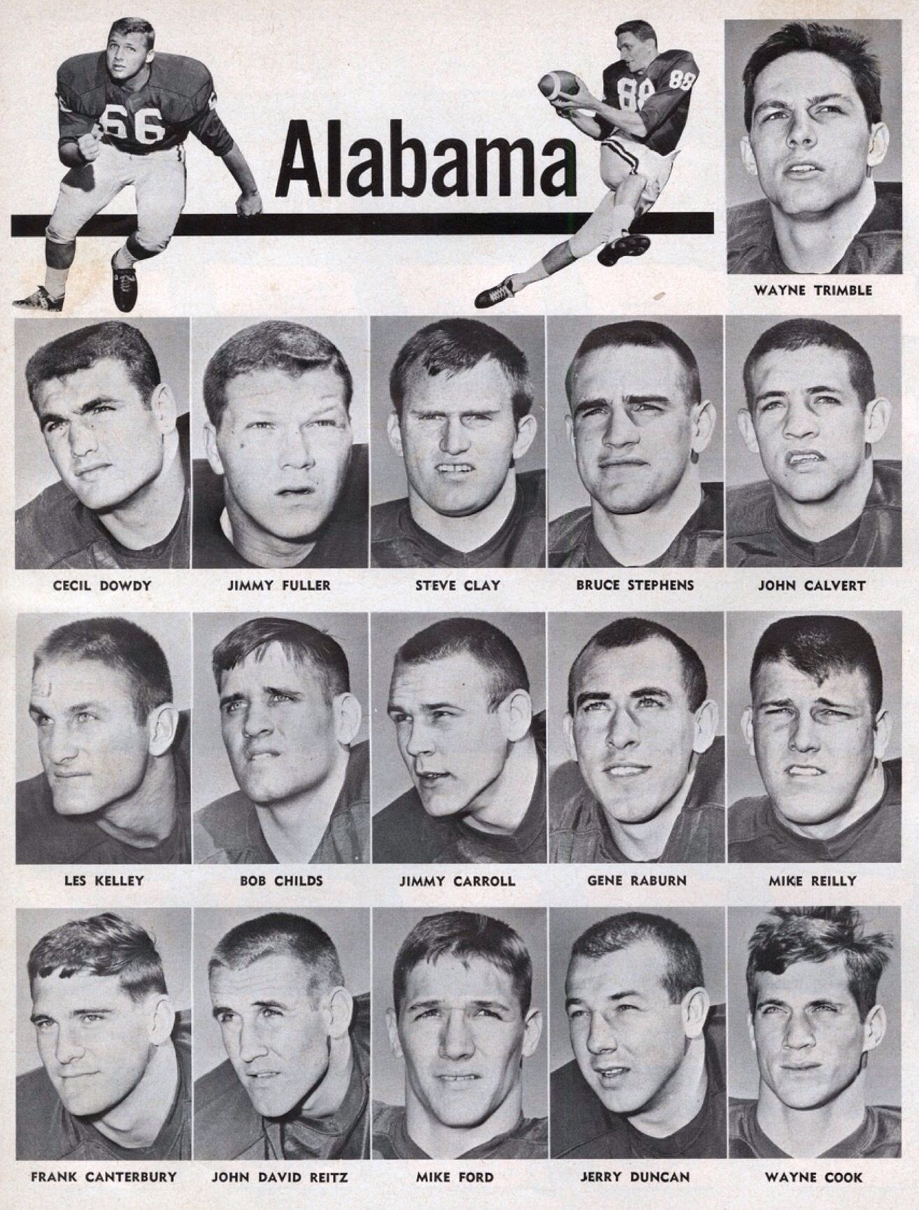 Alabama Football Roster 1966 Alabama Crimson Tide Roster From Alabama Football
