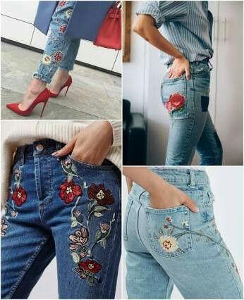 Jeans Bordado De Flores Ropa Bordada Moda Vestidos Bordados A Mano