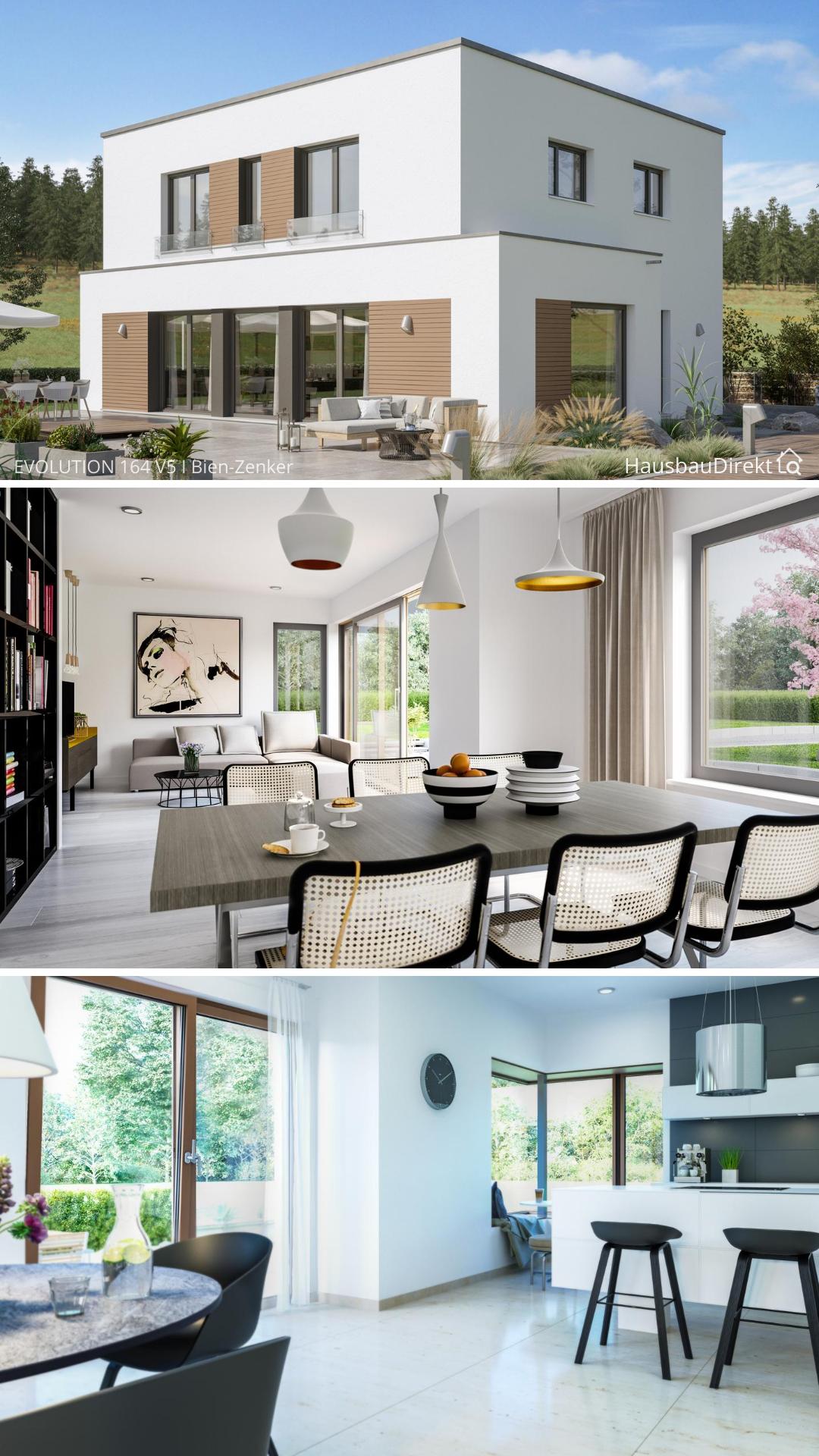 Einfamilienhaus Architektur modern mit Flachdach im ...