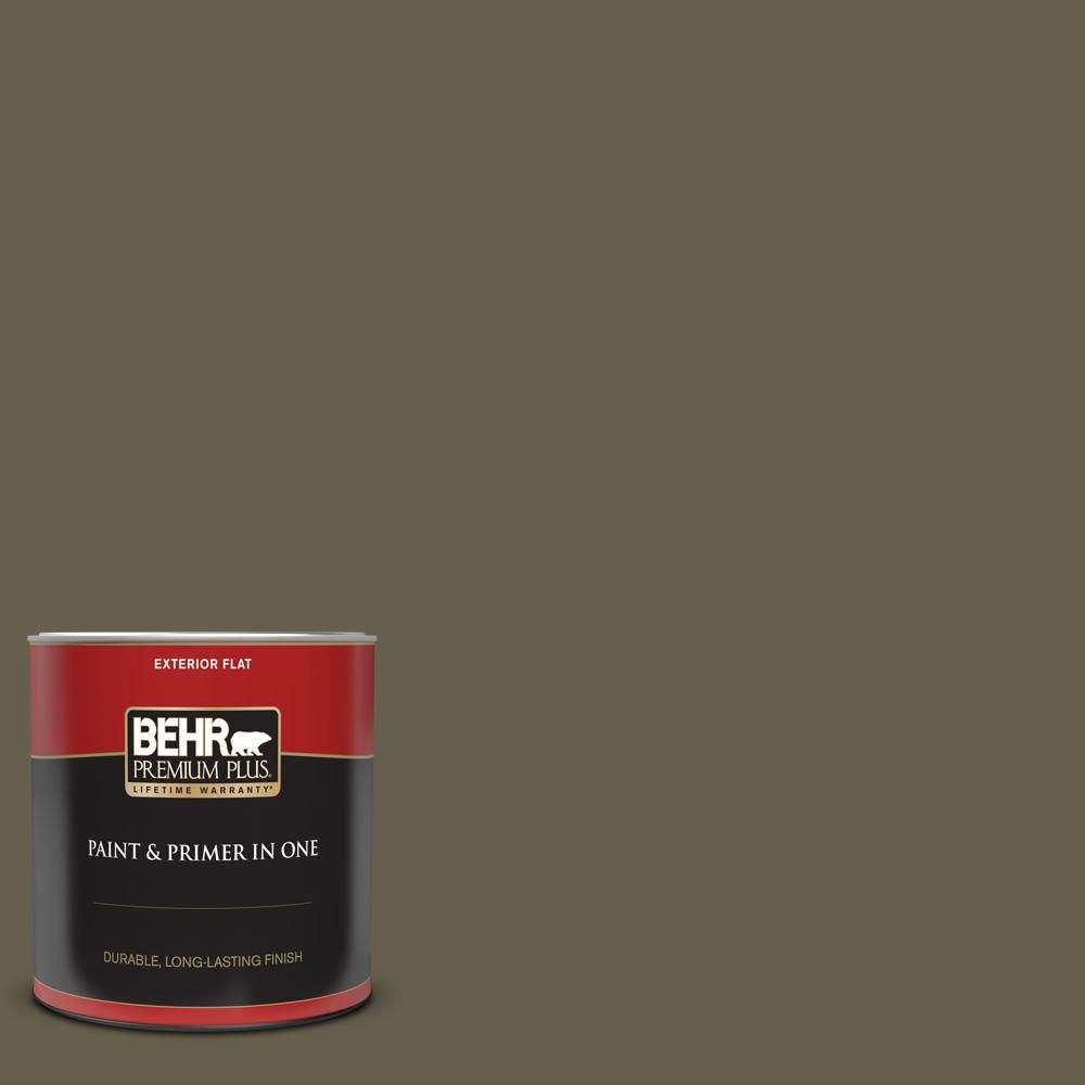 Behr Premium Plus 1 Qt N340 7 Kilimanjaro Flat Exterior Paint And Primer In One 430004 The Home Depot Interior Paint Behr Exterior Paint