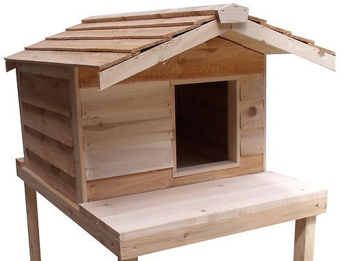 Large Insulated Cedar Outdoor Cat House With Platform Ebay Outside Cat House Outdoor Cat House Cat House