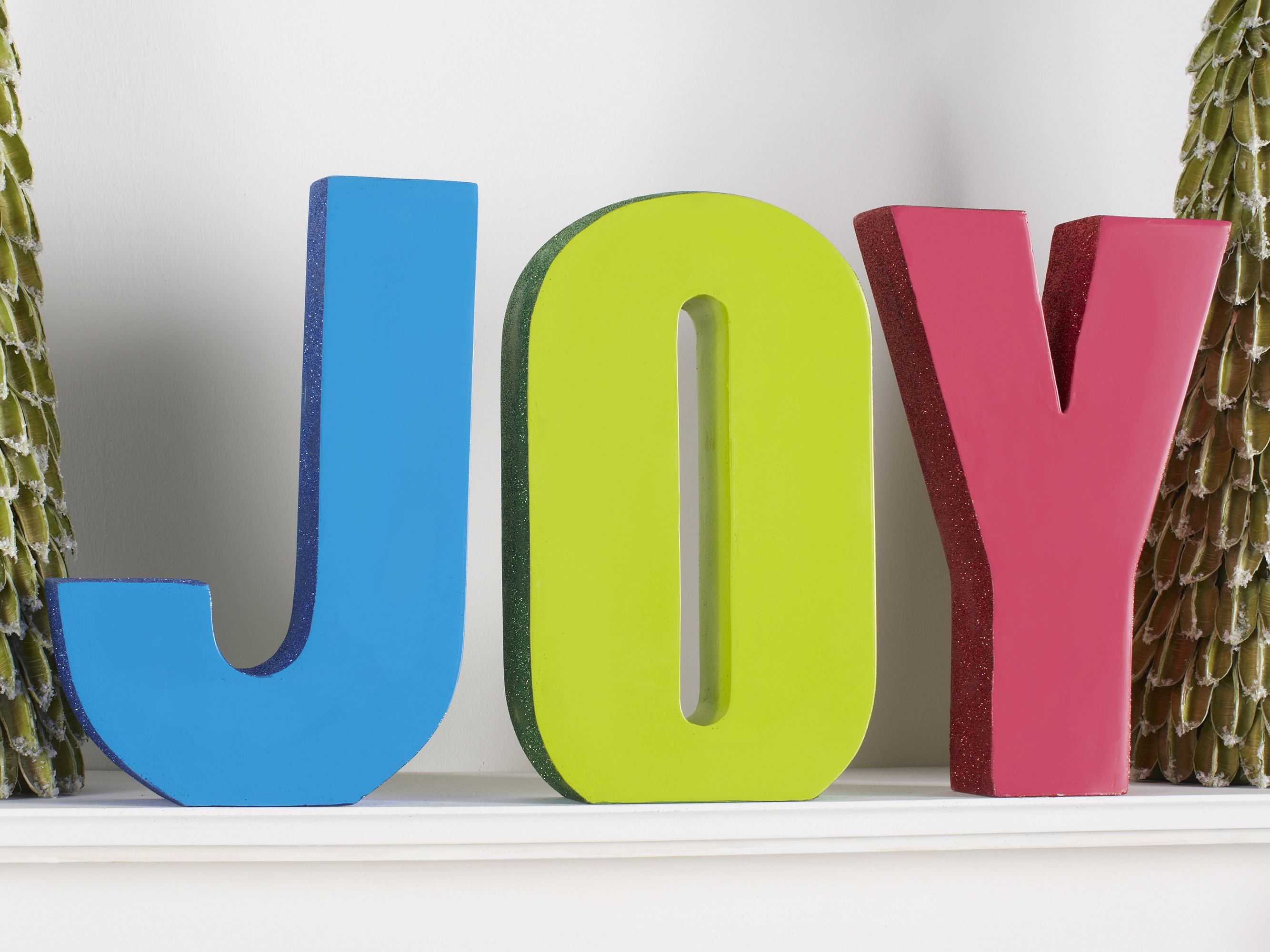 Spell out a fun message on your mantle with bold, bright ...