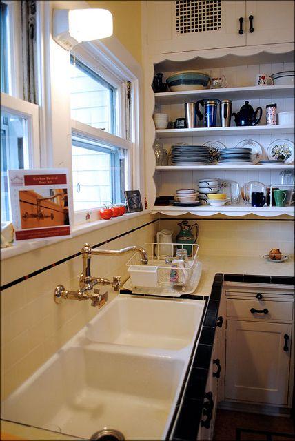 Open Shelves Vintage Sink Vintage Tiles Kitchen Tile Countertops Kitchen Vintage Kitchen