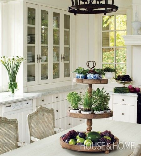 """Elements: Pine """"display,"""" dark metal, white everywhere else--flat beadboard fronts on cabs with marble, of course. .Photo Gallery: New French Country Style 