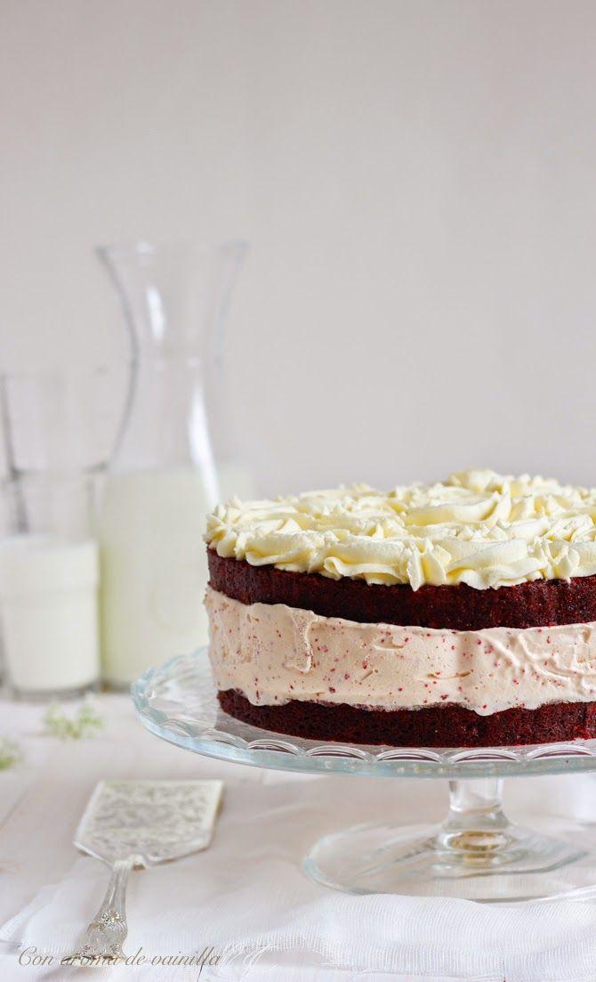 Tarta red velvet helada (con helado de queso) | Con aroma de vainilla
