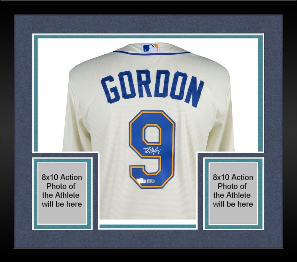82d1d89cc Framed Dee Gordon Seattle Mariners Autographed Majestic Ivory Replica Jersey
