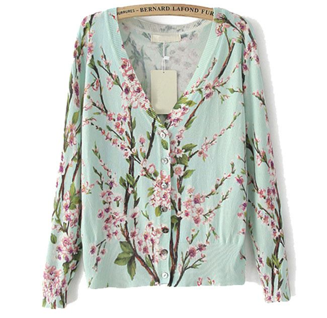 2014 Women's Trendy Vintage Ethnic Peach Flower Floral pattern V neck Long Sleeve Knitted Cardigan Sweater Knitwear Tops