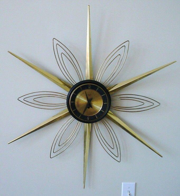 Old Mid Century Modern Verichron Key Wind 8 Day Sunburst Starburst