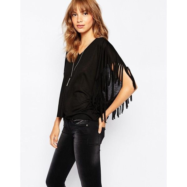7b1086abf9a36 Vero Moda Fringe Detail V Neck Tee ( 16) ❤ liked on Polyvore featuring tops