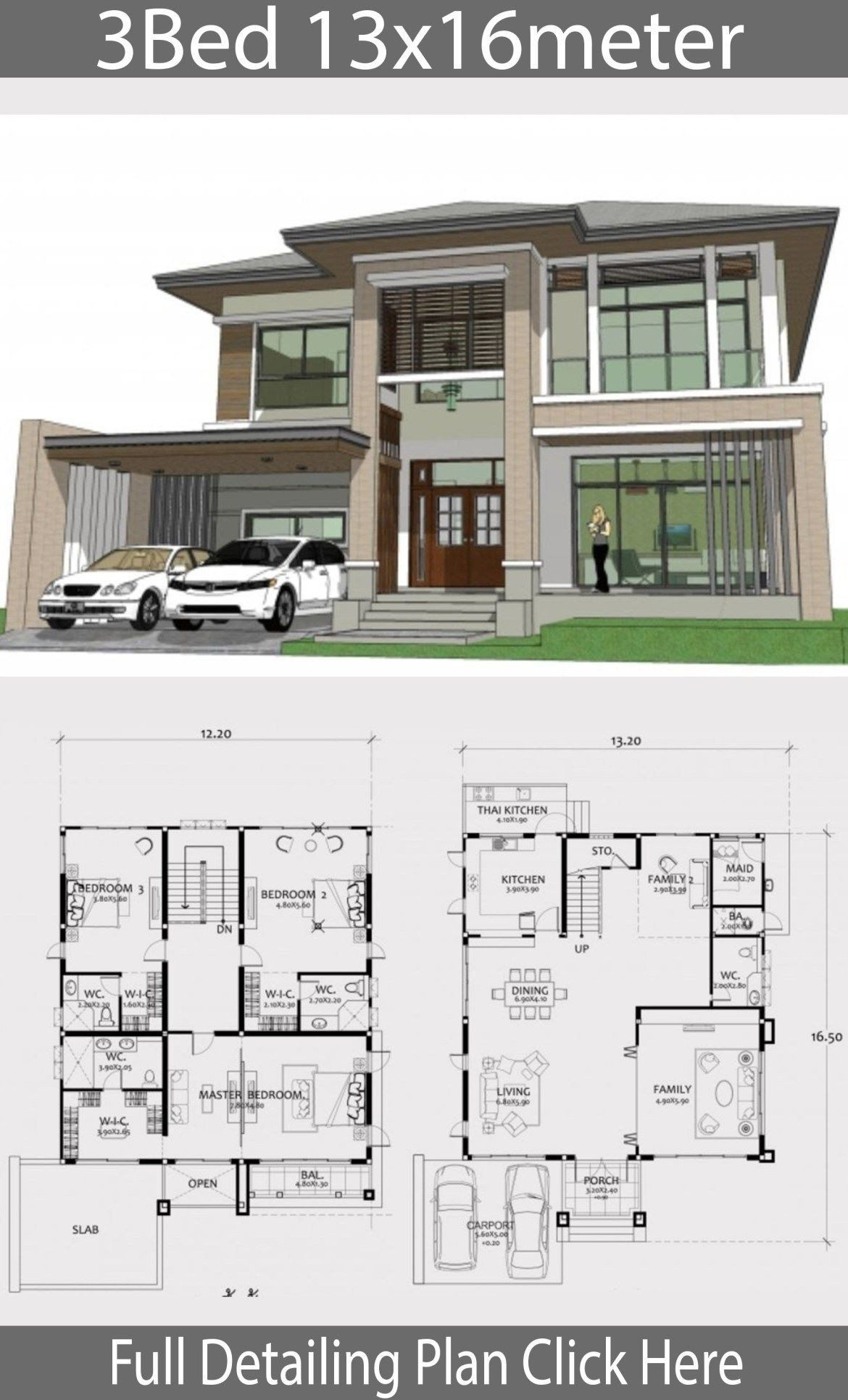 Best Modern House Plans Home Design Plan 13x16m With 3 Bedrooms In 2020 Architectural House Plans Model House Plan Cool House Designs
