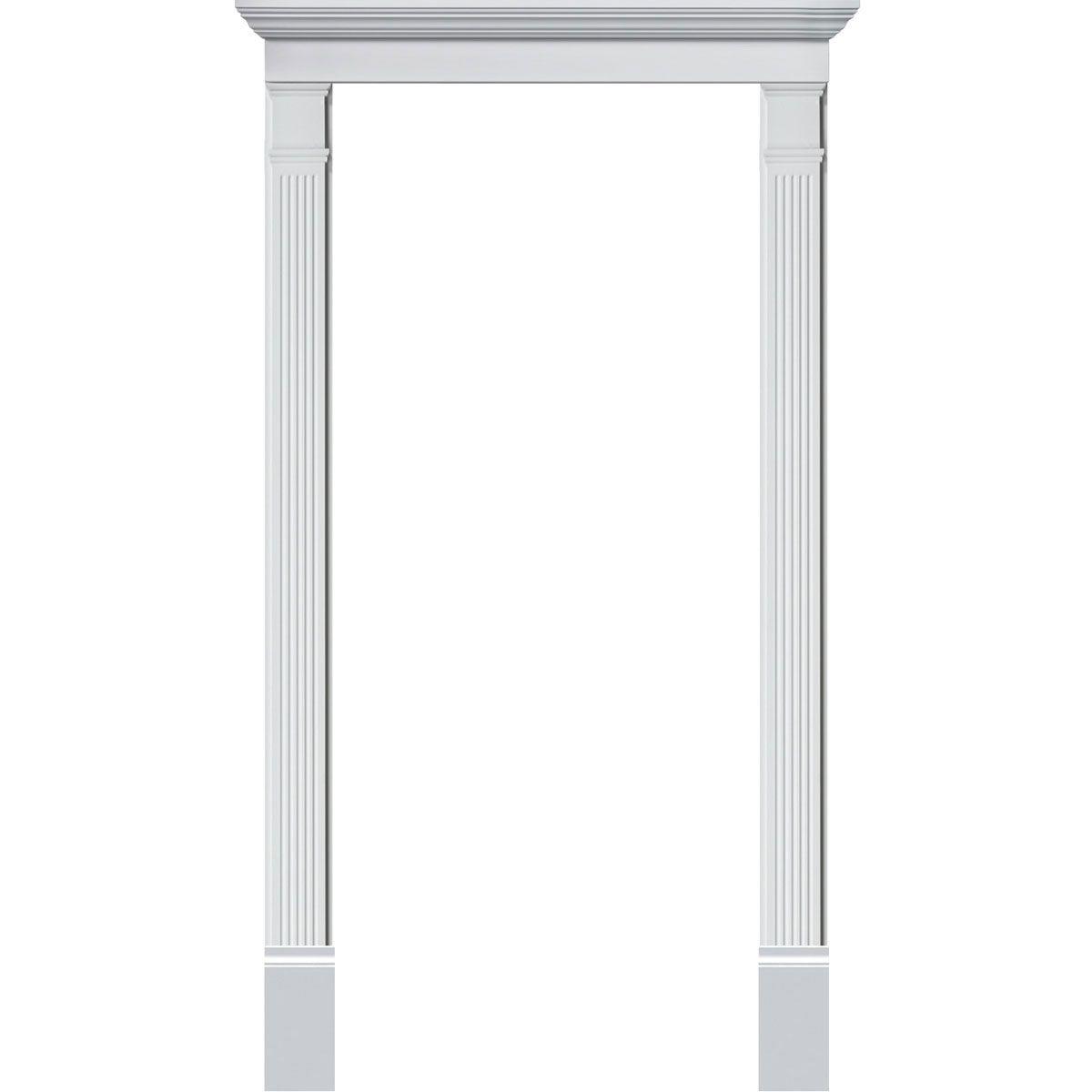 Single Door Surround Kit With 51 W X 6 H Crosshead 5 1 4 W Fluted Pilasters 140 24 Wood Exterior Door Door Molding Kit Door Trims