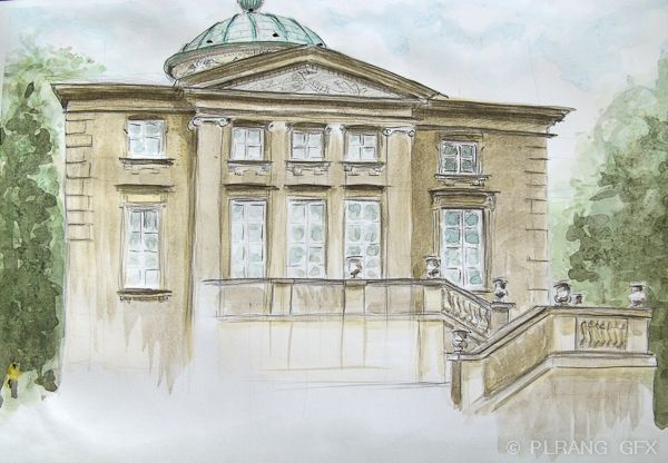 Pencil Watercolor A Neoclassical Architecture Of The Rabbit House In Warsaw Krolikarn Neoclassical Architecture Architecture Sketch Architecture Graphics