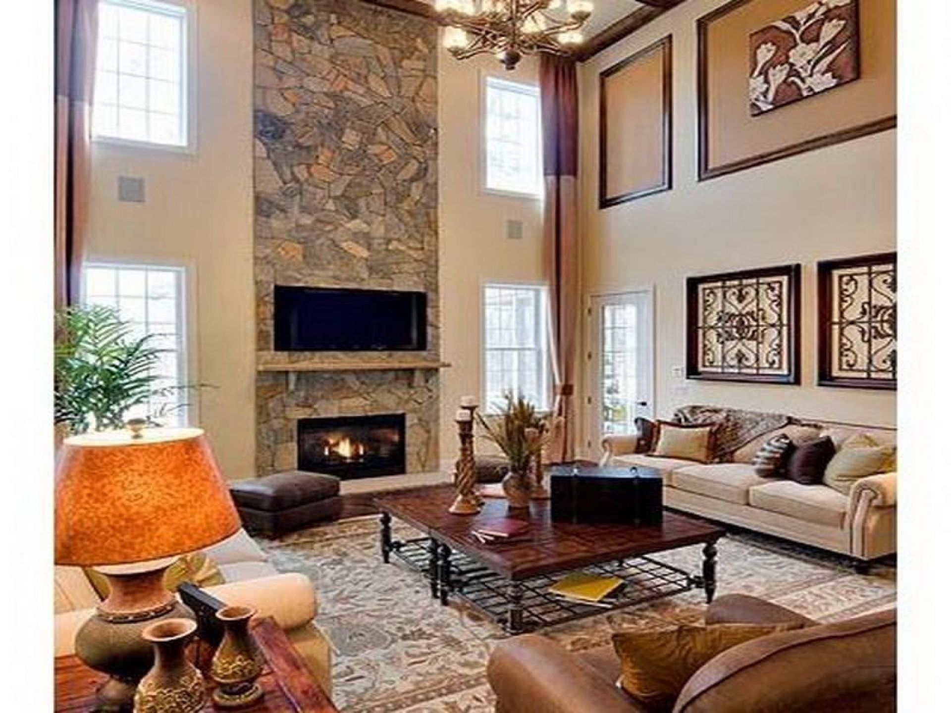 decorate two story family room - Google Search | Family ...