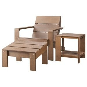 Threshold Bryant 3 Piece Faux Wood Patio Adirondack Chat Furniture Set Patio Furniture Collection Wood Patio Patio Chairs