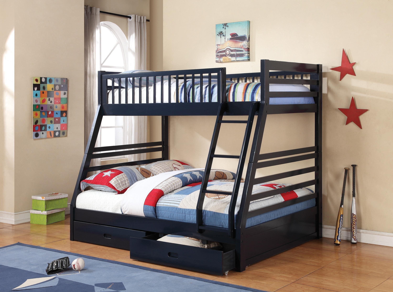 Coaster 460181 Bunks Navy Blue Drawers Ladder Twin Full