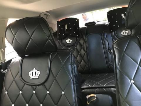 Black Leather Car Seat Cover With Rhinestone Bling Crown Five Pieces Set