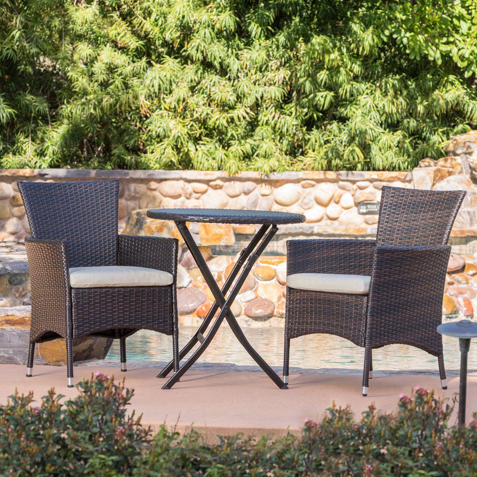 Malaga Wicker 3 Piece Outdoor Bistro Set Outdoor Patio Furniture