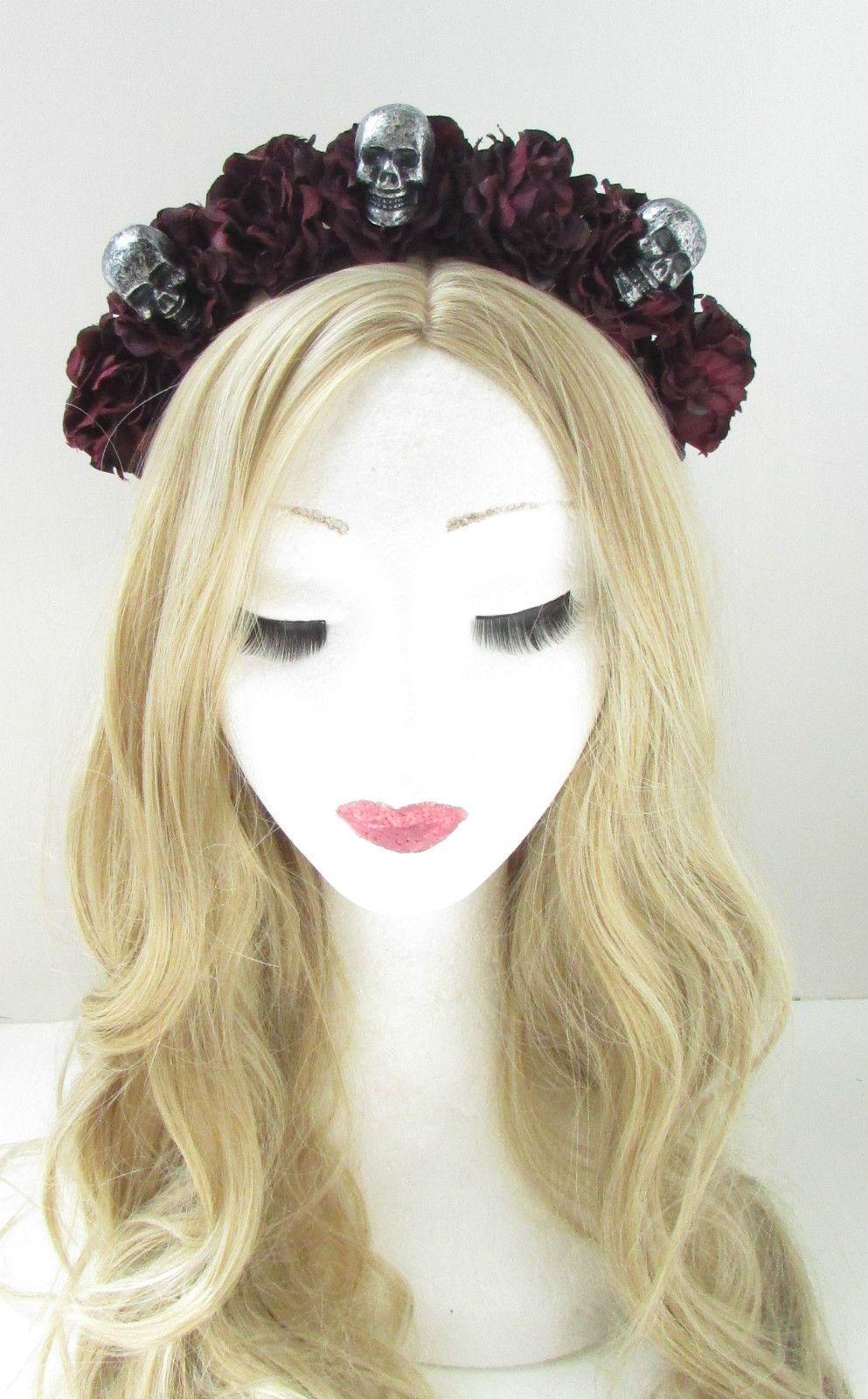 Black dark red sugar skull flower hair crown headband goth rose