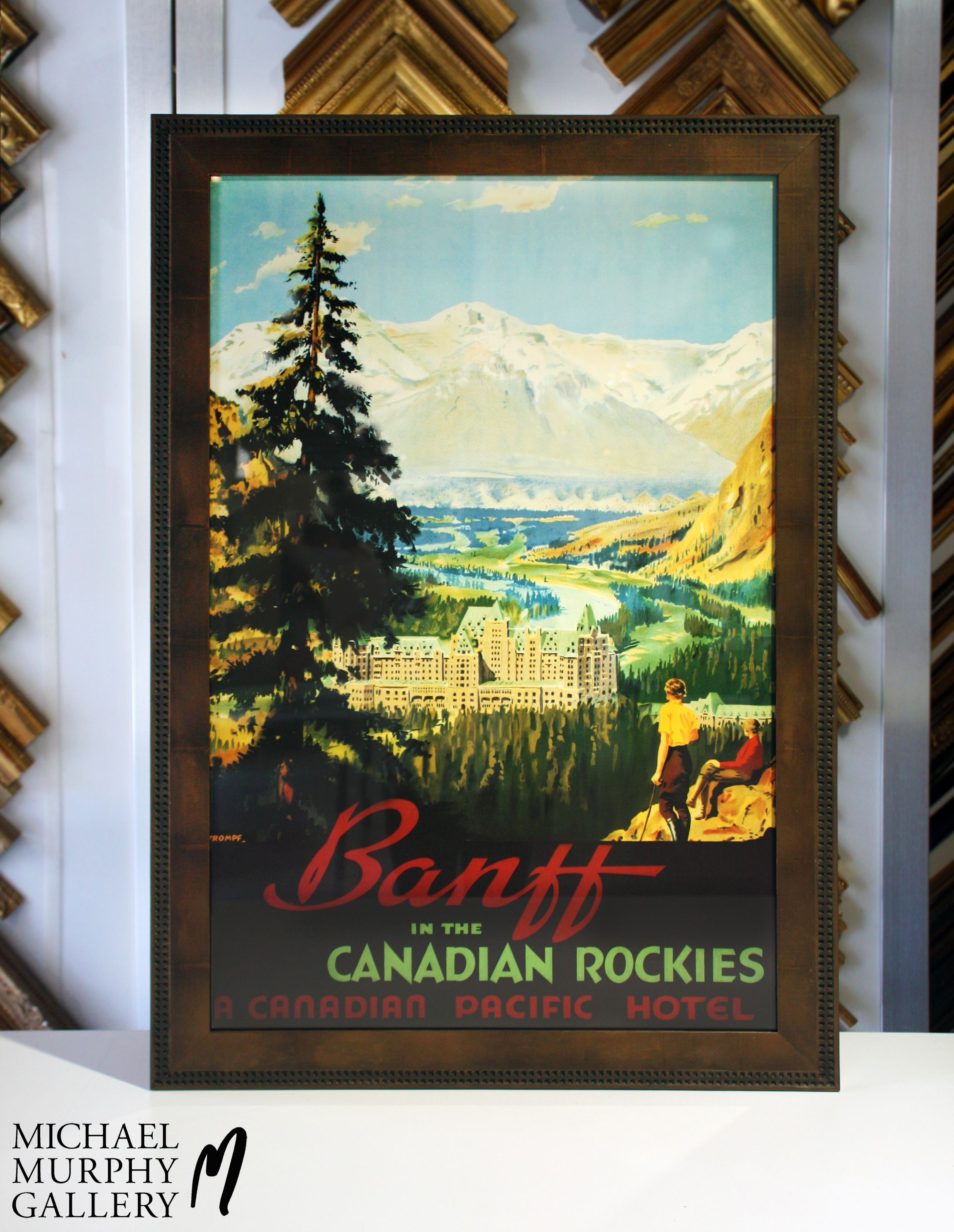 Project: Canadian Rockies Hotel poster for clients home  Criteria: Rustic frame to accent nature feel of the poster  Solution: For this piece, Michael chose a   moulding, with the notched edge to complement the hotel windows, in a wash that happened to be discontinued. He chose a desert wash instead and then hand crafted an umber wash to make this frame truly a one-of-a-kind.  #FramingFriday #MMGallery #MMGart