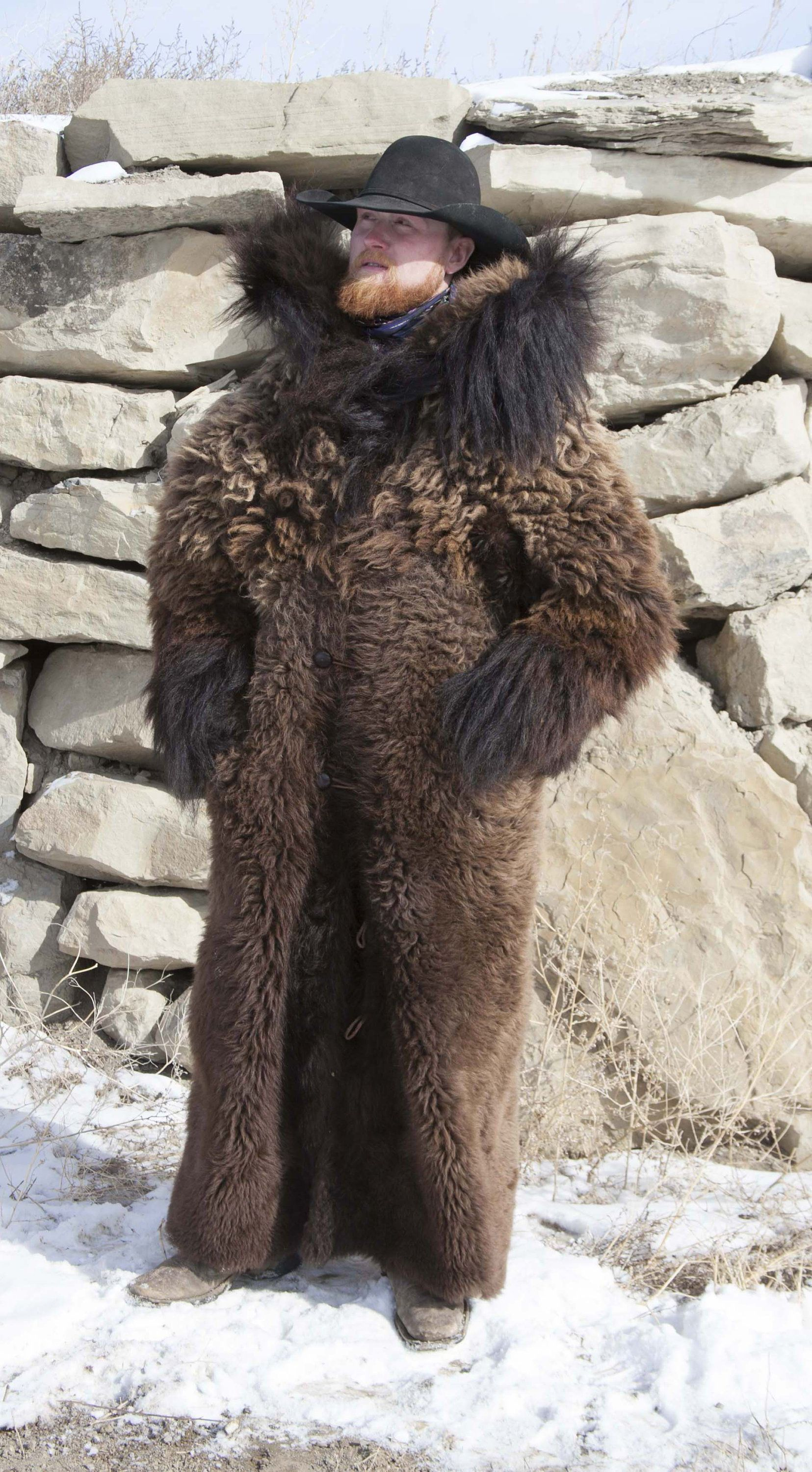 Buffalo Hide Fur Coat Full Length Real Yellowstone Buffalo Fur Mens Fur Coat Fur Fur Coat