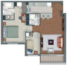 Planos de departamento de 2 dormitorios en 53m2 y 54m2 for Planos de departamentos de 40m2