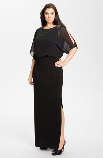 5111920b Xscape Embellished Blouson Bodice Jersey Dress (Plus Size) available at  #Nordstrom