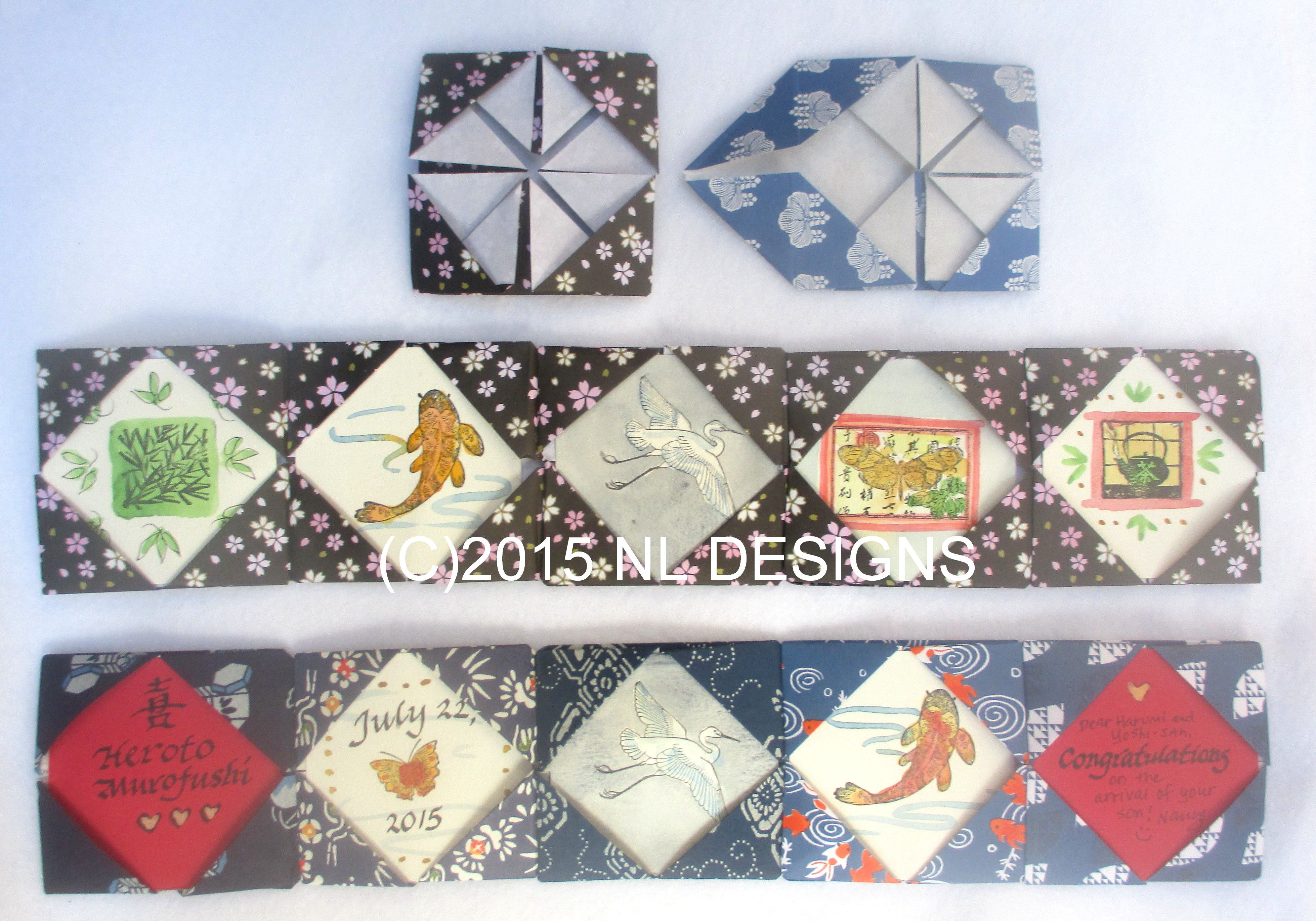 Photo of Handmade accordion books – Diamond origami fold with small rubber stamp painting…