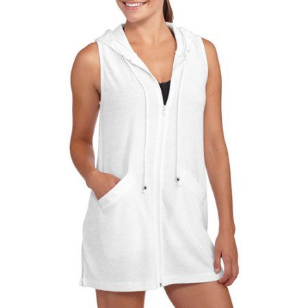 40e4db98e077c Catalina Women's Hooded Zip-Front Terry Swim Cover-Up, White ...