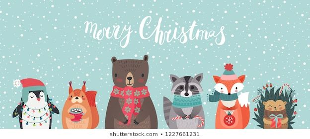 Christmas card with animals, hand drawn style  Woodland characters