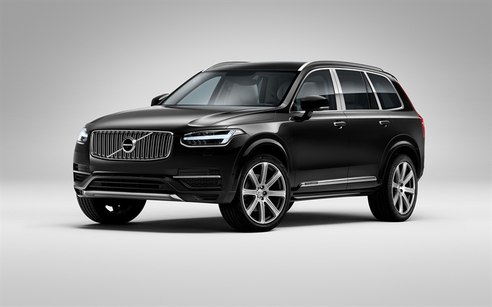 download wallpapers volvo xc90 2017 black xc90 suv luxury cars swedish cars volvo cars. Black Bedroom Furniture Sets. Home Design Ideas