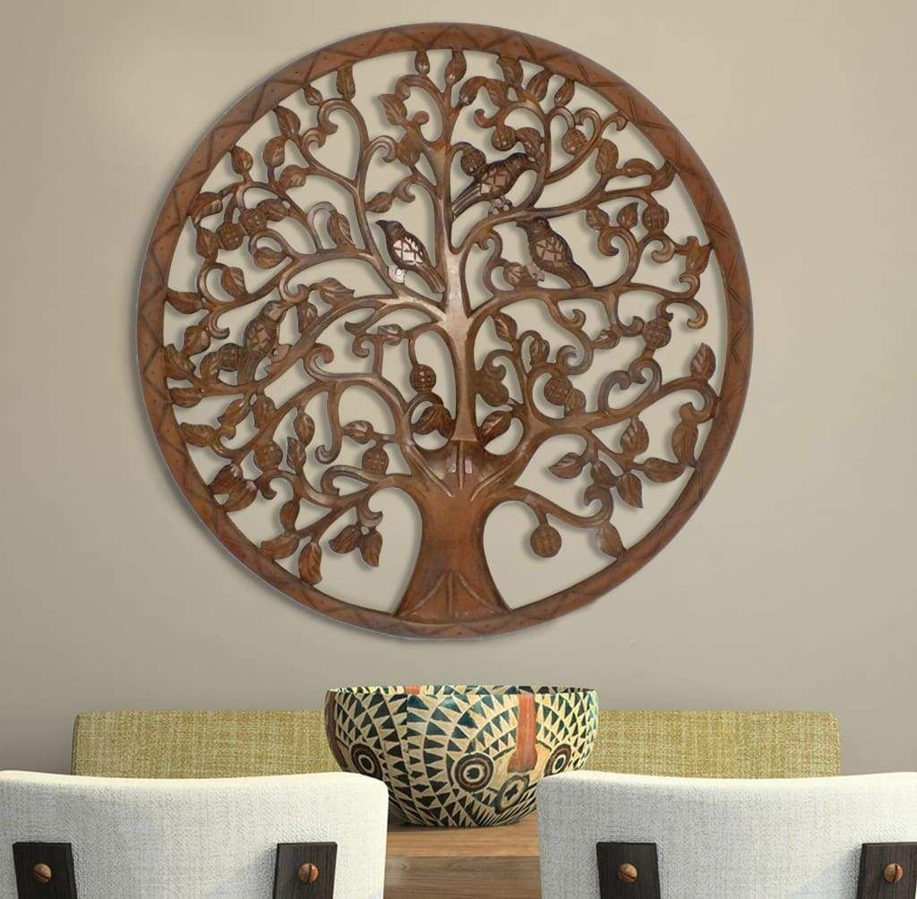 Circular Mango Wood Wall Panel With Cutout Tree And Bird Carvings Antique Brown From Casagear Mangowoodtree Wood Panel Walls Wood Wall Decor Iron Wall Decor