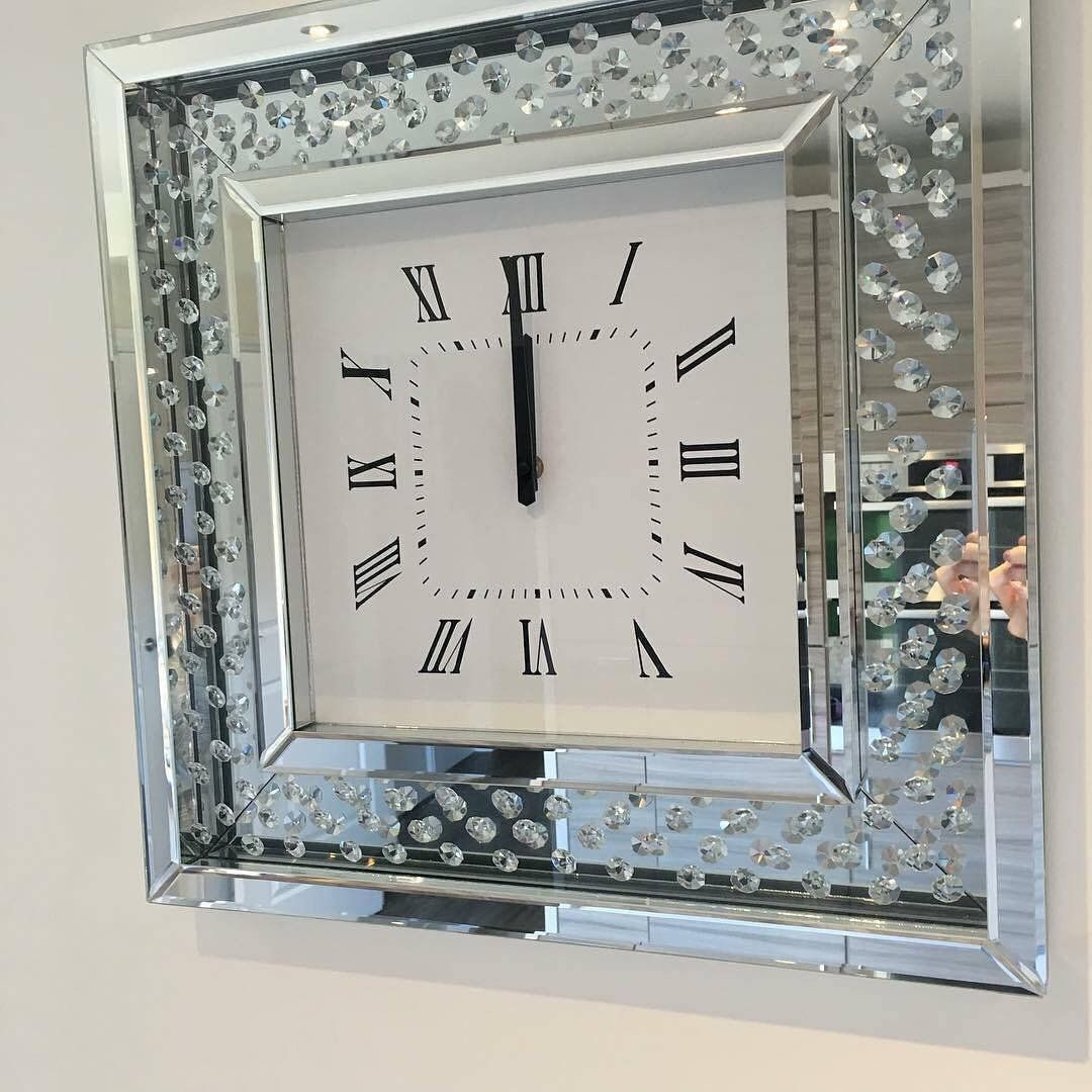 Floating Crystal Diamond Wall Clock Mirrored Furniture