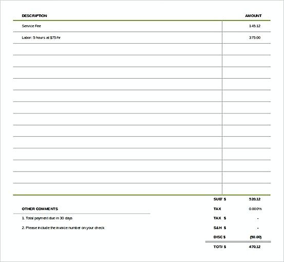 Simple Invoice template , Microsoft Excel Invoice Template