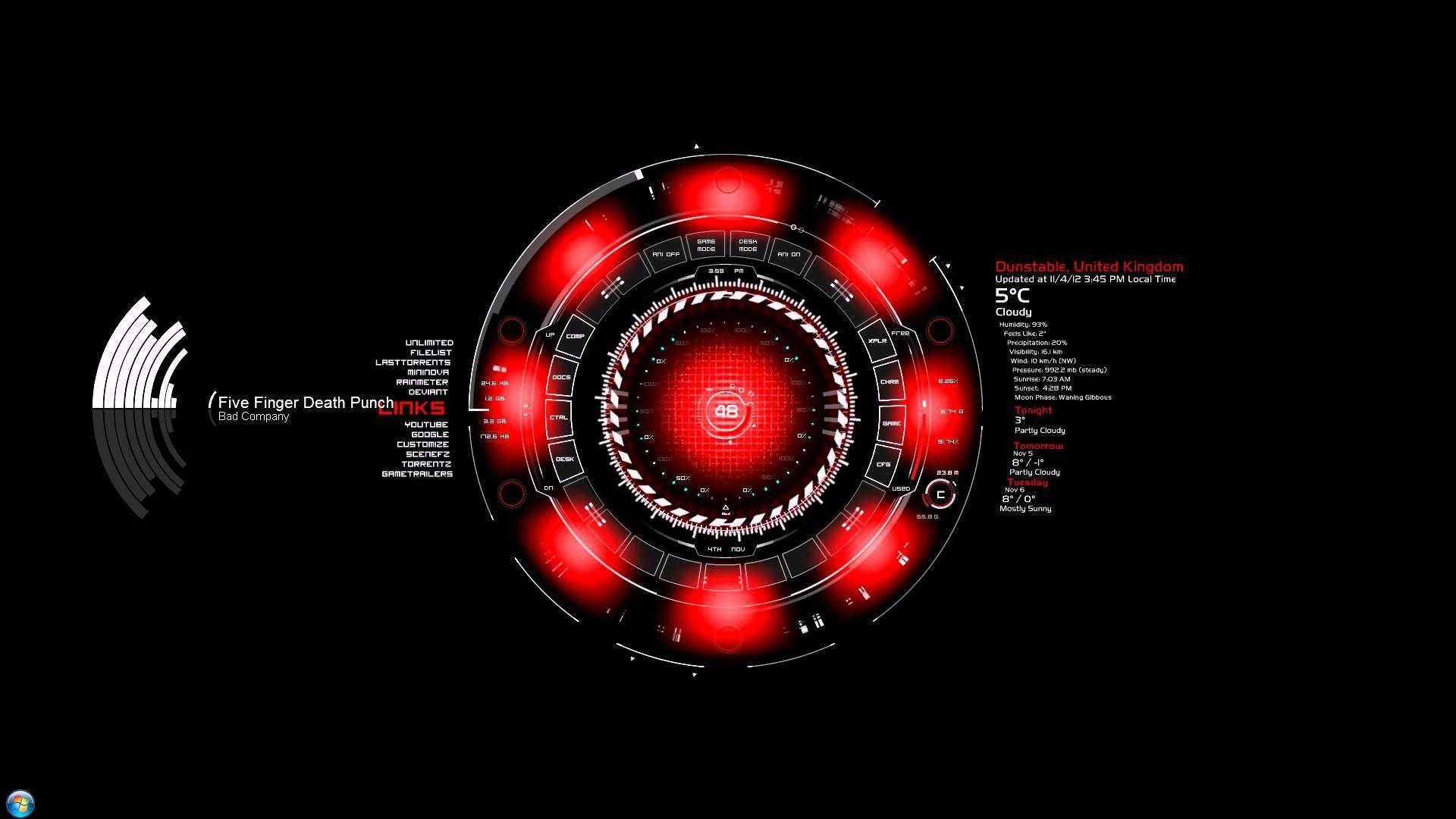 Red Arc Reactor Iron Man Full Hd Wallpaper