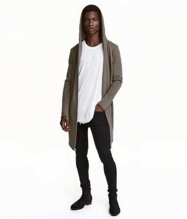 Black. Cardigan in sweatshirt fabric with a hood. Side pockets ...