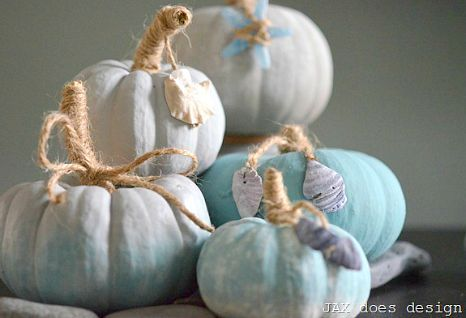 Photo of Painted Pumpkins with a Coastal, Beach & Nautical Theme