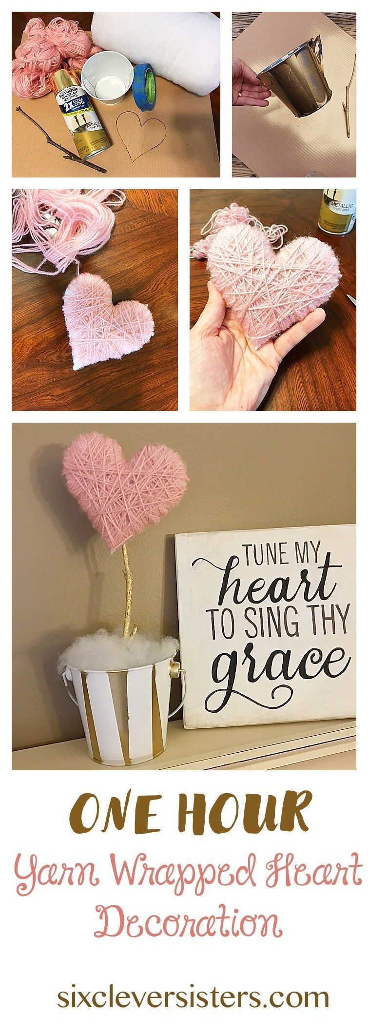 Photo of This 'One Hour Yarn Wrapped Heart Decoration' will add a bit of Valentine's Day decor to your home. See it on www.sixcleversist… It's an easy, diy, Valentine's Day craft. They could also be used as cute centerpieces for a shower or party.
