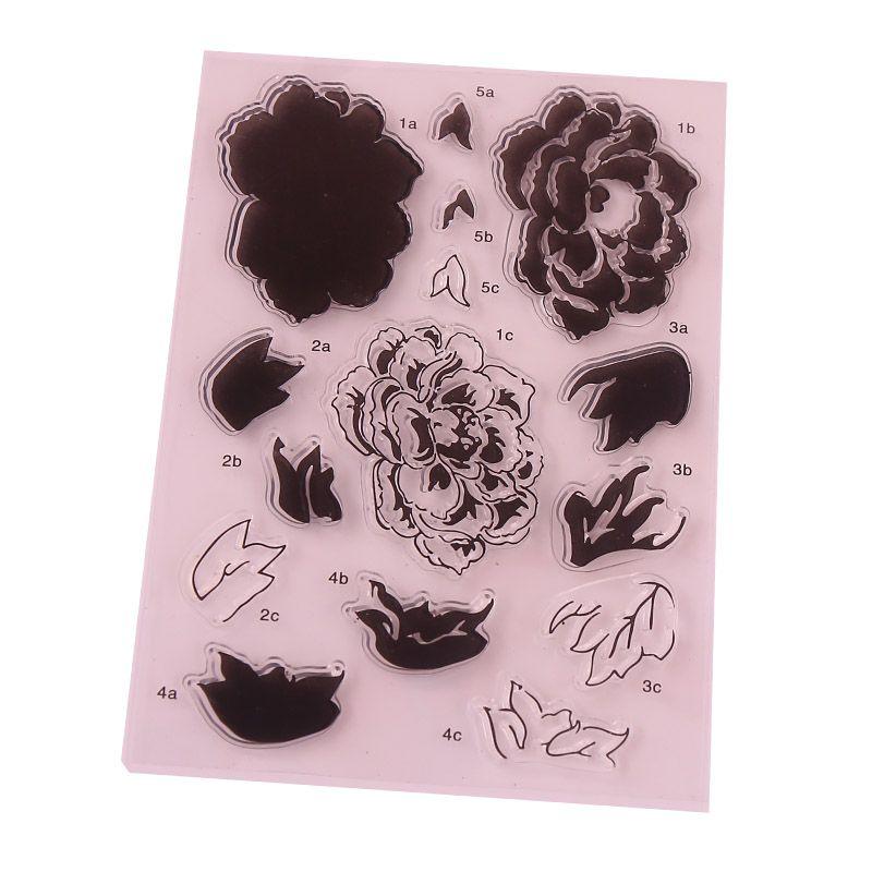 CCINEE 1 PZ Guarnizioni In Silicone di Stile Del Fiore Trasparente Timbro FAI DA TE Scrapbooking/Card Making/Photo Album Decorazione Forniture
