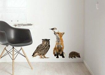 set met 4 'levensechte' bosdieren muurstickers